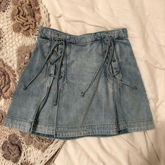 f88d1896585fb8 Free People Dresses & Skirts - Free People Lace Up Denim Skirt